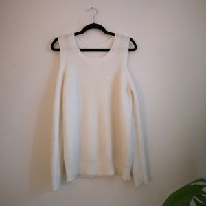 Like New! Cold Shoulder knit Sweater (white)